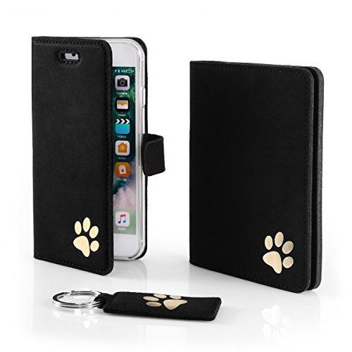 SURAZO Gold Pfote - Leder Geschenkset Handy Schutzhülle, Geldbörse, Schlüsselring - Farbe Schwarz Vintage Kollektion für Microsoft Lumia 950 XL