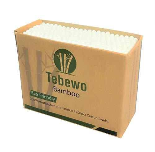 200 Wattestäbchen aus Bambus und Baumwolle | 100% biologisch abbaubar | kompostierbar | umweltfreundliche premium Wattestäbchen (200)