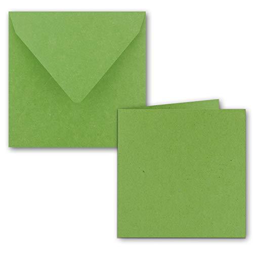Quadratisches Faltkarten Set aus Kraft-Papier in Hellgrün 15 x 15 cm -50 Sets - Doppel-Karten & Briefumschläge aus Recycling-Papier - Serie Umwelt