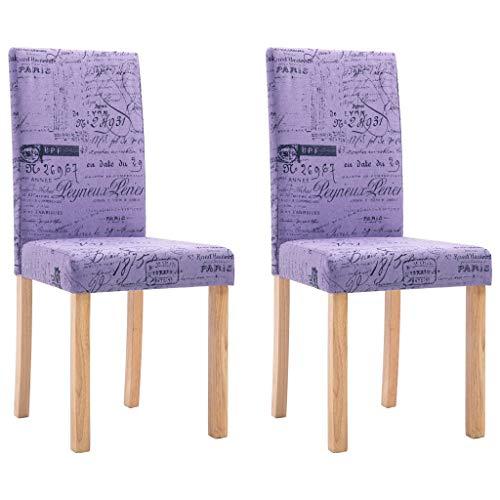 vidaXL 2X Esszimmerstuhl Polsterstuhl Küchenstuhl Stuhl Stühle Hochlehner Esszimmerstühle Sitzgruppe Lehnstuhl Stuhlset Stuhlgruppe Lila Polyester
