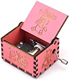 SIQI Winnie the Pooh 18 Note Hand Crank Wood Music Box Antique Carved Musical Boxes Gifts Collections Home Office Decoration for Halloween Birthday Christmas Anniversary, Plays Winnie the Pooh(Pink)