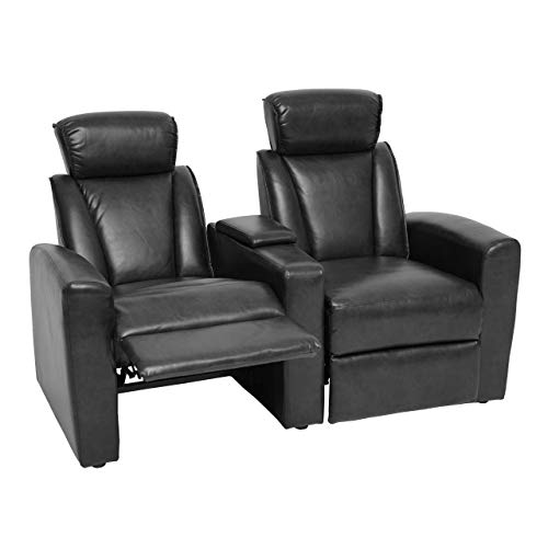 Mendler 2er Kinosessel HWC-H30, Relaxsessel Fernsehsessel Zweisitzer Sofa, Fach Getränkehalter Soft Touch Kunstleder - schwarz