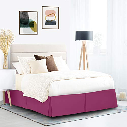 """Pleated Bed Skirt, Wrap Around Bed Skirt, Easy Fit 14"""" Bed Skirt, Double Brushed Premium Microfiber Ruffle Bed Skirt, Luxury Bedskirt, Hotel Quality Dust Ruffle, Cal King Bed Skirt Vivacious Magenta"""