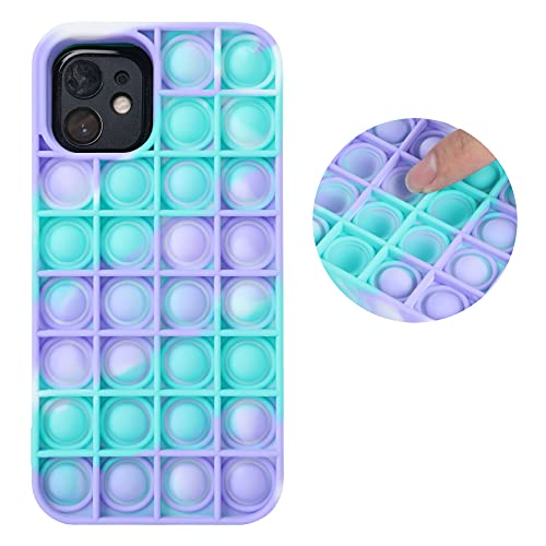 Fidget Toys Phone Case Newly 2021 Push Pop Bubble Fidget Sensory Toy Silicone Shockproof Protective Phone Case (As Shown2, for iPhone 12 Mini)