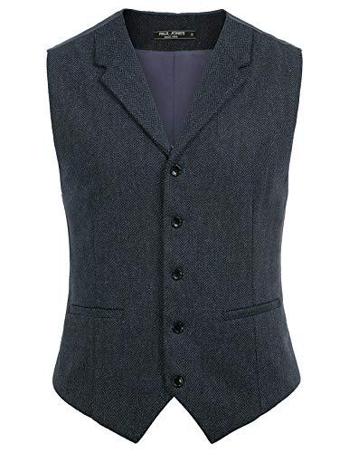 Men's Dress Suit Vests Slim Fit Wool Blend Herringbone Waistcoat XXL Navy Blue