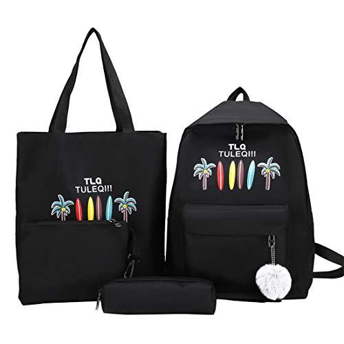 heavKin 4Pcs Women Student Boys Girls Fashion Popular Candy Color Letter Print Backpack School Bags Clutch Pencil Case Combination Sub-Package (Black, 29X12X40cm)