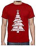 Camiseta para Hombre - Arbol de Navidad Blanco con Estilo Distressed - Idea Large Rojo