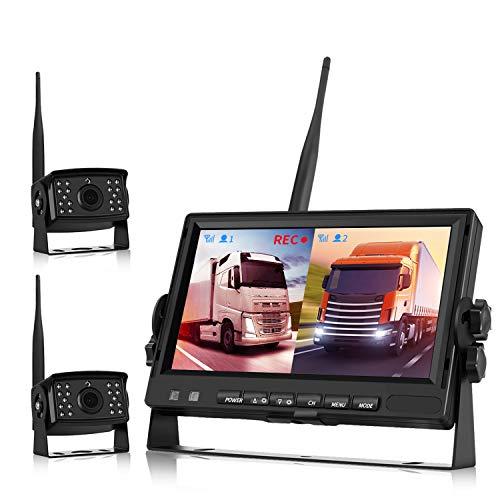 Rückfahrkamera Kabellos, LKW Rückfahrkamera Kabellos, Rückfahrkamera Set Digital AHD Dual-Cam-Videoaufzeichnung DVR, (Rück- und Vorderkamera) 7-Zoll-Monitor für Bus/Wohnmobil 12V-24V Nachtsicht