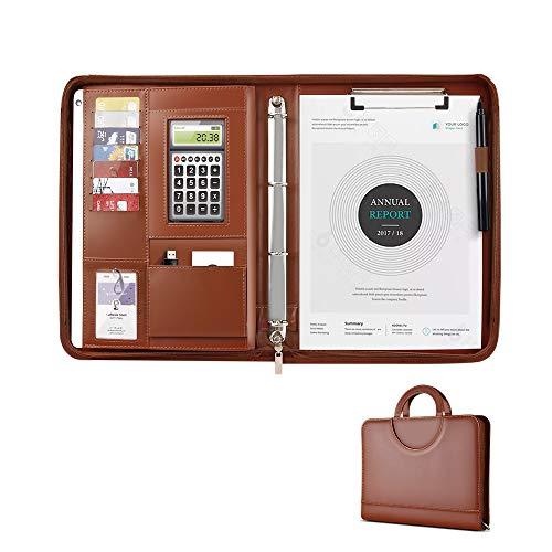 AtailorBird Maletín de Cuero A4 con Cremallera, Organizador para Tableta, Soporte para Teléfono y 2 Bolsillos y Bucles Elásticos, Carpetas de Anillas,Organizador de Documentos Monedero-Marrón