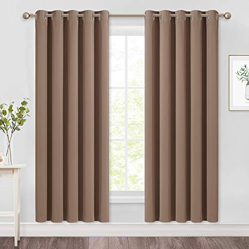 NICETOWN Kitchen Blackout Curtains and Drapes - Triple Weave Energy Saving Thermal Insulated Solid Grommet Blackout Panels for Patio (1 Pair, 66 inches by 72 Inch, Cappuccino)