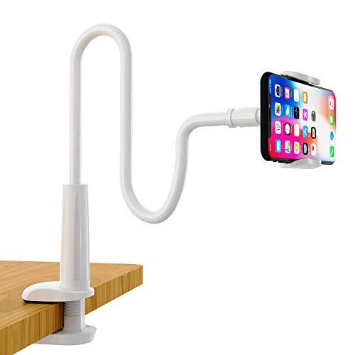 Enllonish Handyhalter, Schwanenhals Handyhalterung : 360°Drehen Universal Ständer für iPhone 12 Mini, 12 Pro Max, 11 Pro XS Max X 8 7 6S, Samsung S10 S9 S8, Huawei und 4-6,5 Zoll Geräte - Weiß