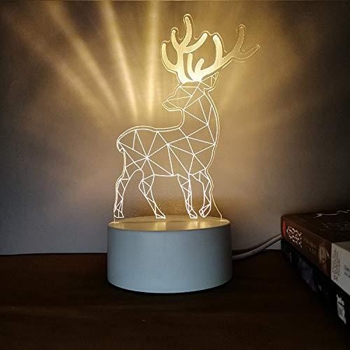 Kreatives Nachtlicht 3D dreidimensionale Beschriftung DIY Persönlichkeit Design Tischlampe Geschenk praktische sinnvolle Weihnachten Hirsch Tricolor 3W