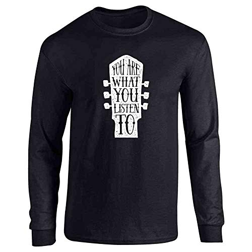 You are What You Listen to Music Retro Vintage Guitar Band Black M Full Long Sleeve Tee T-Shirt Indiana