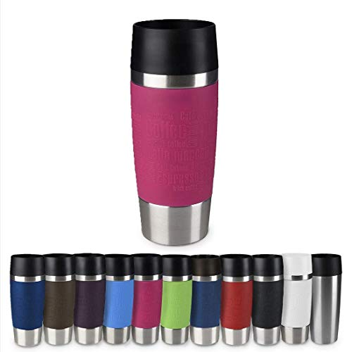 Emsa 513550 Travel Mug Thermo-/Isolierbecher, Fassungsvermögen: 360 ml, hält 4h heiß/ 8h kalt, 100{be78935b7164586fb1f1574fef4c324ce435b557cda477f14e7e659ce6dd45d8} dicht, auslaufsicher, Easy Quick-Press-Verschluss, 360°-Trinköffnung, himbeer