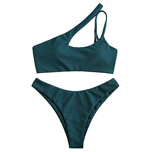 ZAFUL Sexy One Shoulder Bikini 2 Piece Set High Cut Halter Bathing Suit