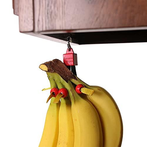 Red - Unique Banana Holder - Hook Alternative - Made in USA; Holds Single Banana; Under Cabinet or Shelf