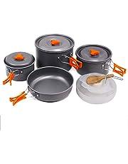 SKYSPER Kit de utensilios de cocina portátil de aluminio para picnic de barbacoa y senderismo