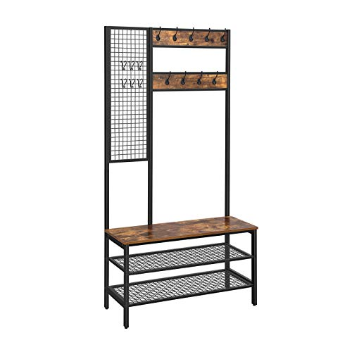 VASAGLE ALINRU Hall Tree, Coat Rack, Coat Stand with Grid Wall, Shoe Rack, 2 Mesh Shelves, 15 Hooks, 72.8-Inch Tall, Large Storage Space, Easy to Assemble, Industrial Style, Rustic Brown UHSR98BX