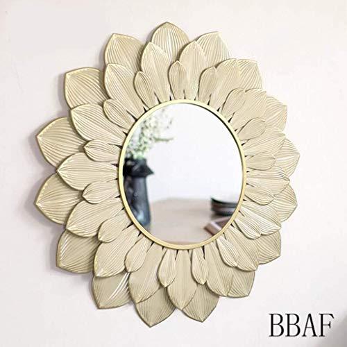 BBAF Marco de Espejo Decorativo Redonda enmarcada Pared Retro diseño Apenado Circular de Oro de Color 40 de diámetro 0313