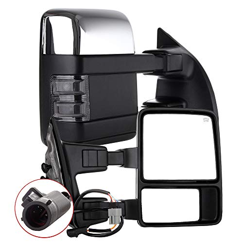 AUTOMUTO Towing Mirror Left and Right Tow Mirrors Power Adjusted Chrome Heated...