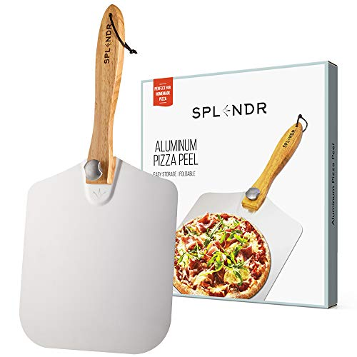 SPLENDR Aluminum Metal Pizza Peel with Foldable Wood Handle 12 Inch x 14 Inch Great Gift for Homemade Pizza Lovers. Easy Storage Pizza Paddle for Baking Bread