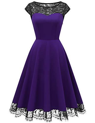 HomRain 50er Jahre Vintage Rockabilly Swing Kleid Damen Spitze Cocktailkleid Ballkleid Party Kleid Purple M