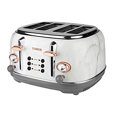Tower Bottega T20017WMRG 4-Slice Toaster, Stainless Steel with Adjustable Browning Control, Cancel, Defrost and Reheat Settings, Removable Crumb Tray, 1630 W, Marble and Rose Gold