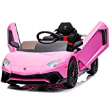Kidzone Kids Electric Ride On 12V Licensed Lamborghini Aventador Battery Powered Sports Car Toy with 2 Speeds, Parent Control, Sound System, LED Headlights & Hydraulic Doors - Pink