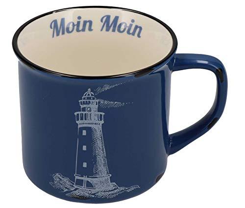 Tony Brown Maritime Porzellan Kaffeebecher mit Sprüchen und Motiven von Nordsee und Ostsee (500ml, Blau)