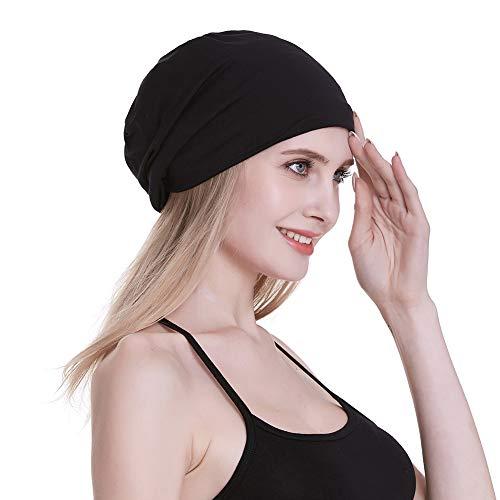 FocusCare Damen Elastischer Satin gefüttert Schlaf Kappen für Krause Haar Breath Nacht Kopfbedeckung Eine Größe passt meistens Schwarz