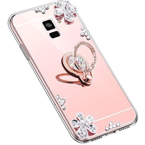 Uposao Kompatibel mit Samsung Galaxy A8 Plus 2018 Hülle Glitzer Diamant Glänzend Strass Spiegel Mirror Handyhülle mit Handy Ring Ständer Schutzhülle Transparent TPU Silikon Hülle Tasche,Rose Gold