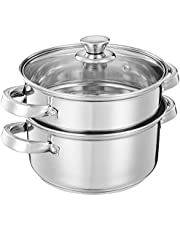 Amazon Brand - Solimo Stainless Steel Induction Bottom Steamer/Modak/Momo Maker with Glass Lid