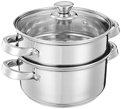 Amazon Brand - Solimo Stainless Steel Induction Bottom Steamer/Modak/Momo Maker with Glass Lid (2500ml)