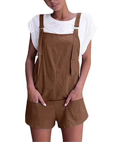 VONDA VONDA Damen Latzhose Retro Shorts Lässig Übergröße Jumpsuit Baggy Sommerhose Mit Tasche A-Kaffee L