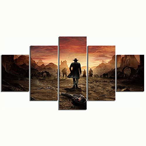 WUXI Leinwanddrucke 5-teiliges Spielplakat Desperados-Spieleszenenbilder HD-Leinwand-Wandbilder für Wohnkultur Drucke auf Leinwand