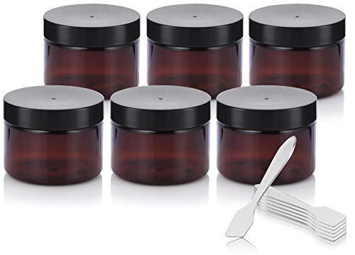 Amber PET Plastic (BPA Free) Refillable Jar - 3 oz (6 Pack) + Spatulas