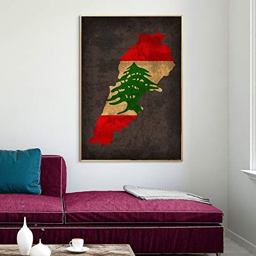 Land Flagge Karten Poster Libanon Land Flagge Karte Leinwand Druck Wohnkultur Wandkunst Dekor ohne Rahmen 40X56Cm 1