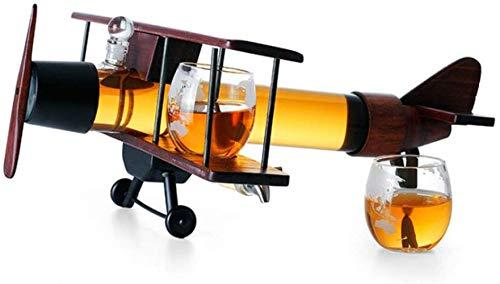 Jarra de whisky Whisky o botella de champán, conjuntos de decantores de whisky, conjunto de aviones de madera maciza creativa, vidrio 100% sin plomo, decoración de la casa de moda, para el bar de la c