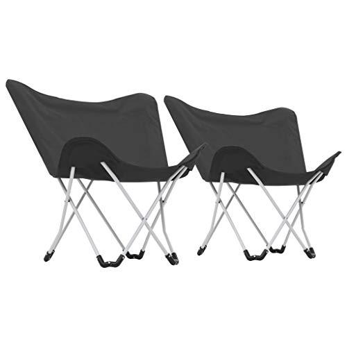 Festnight Sillas de Camping Estilo Mariposa Plegables Diseñadas Ergonómicamente, 2 Unidades Negras 80 x 70 x 87 cm