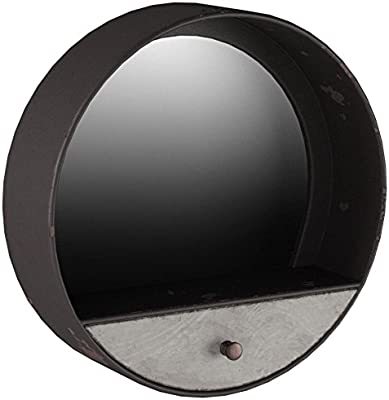 "Stone & Beam Contemporary Metal Storage Mirror, 15.3""H, Black with Galvanized Finish"