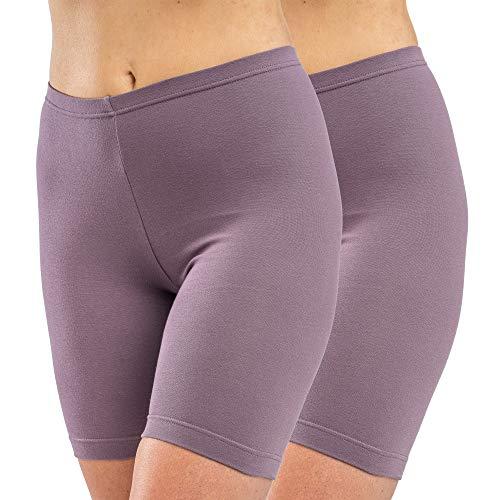 HERMKO 5780 2er Pack Damen Longpant - knielanger Pant, Farbe:Pflaume, Größe:40/42 (M)
