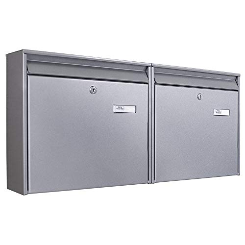 Burg-Wächter Briefkastenanlage 2 Fach | 72x32x10cm groß verzinkter Stahl silber DIN A4 | Briefkasten Set 2 Briefkästen mit Namensschild, 2 Schlüssel, Montagematerial