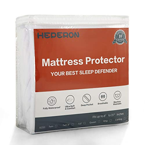 HEPERON Ultra-Soft & 100% Waterproof Mattress Protector, Mattress Pad, Mattress Cover, Vinyl-Free, Comfortable & Noiseless, Fitted for 8'-21' mattresses (Snow White, Queen)