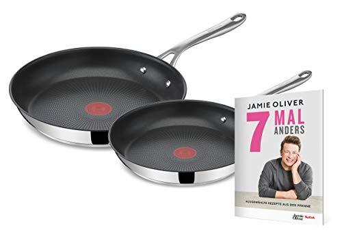 Tefal E304S2 Jamie Oliver Cook's Direct 2-teiliges Bratpfannen-Set | 24, 28 cm | induktionsgeeignet | spülmaschinenfest | Thermo-Signal | mit exklusivem Jamie Oliver Rezeptheft | Edelstahl