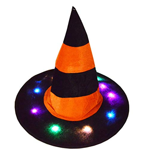 Cewtolkar Halloween Funny Cap Glowing Multicolor Witch Hat Festival Dance Party Show Hat Masquerade Cosplay Costume (Orange)