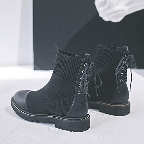 Shukun enkellaarzen voor dames, herfst en winter, dikke zolen, modieuze schoenen, breien, elastische Martin laarzen