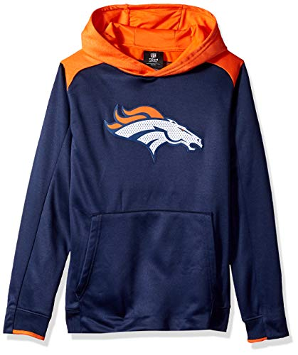 NFL by Outerstuff Youth 'Off The Grid' Performance Pullover Hoodie Denver Broncos, Dark Navy, Kids Medium (5-6)
