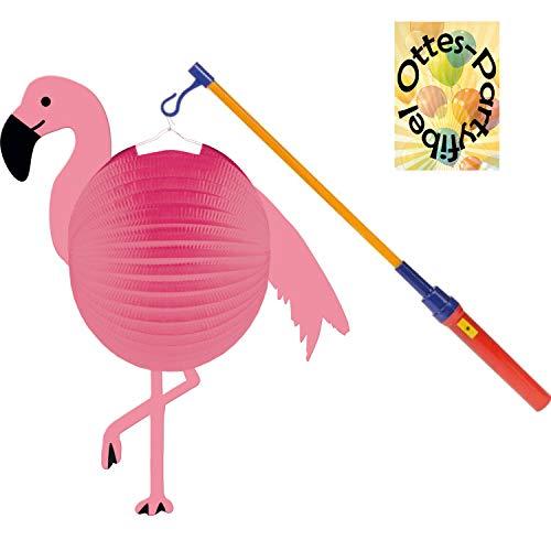 HHO Flamingo Paradise Laternenset: Flamingo-Lampion + LED Laternenstab
