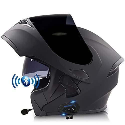 Casco De Moto Modular Bluetooth Integrado Casco De Motocicleta Integral Cómodo Transpirable Visera Solar Doble con Micrófono Auriculares, Función De Respuesta Automática 57-64 CM