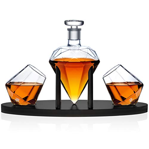 Dragon Glassware Diamond Whiskey Decanter, with 2 Diamond Glasses and Base, 25 Ounce
